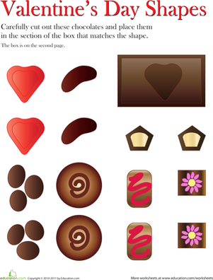 First Grade Holidays Worksheets: Valentine's Day Shape Match-Up