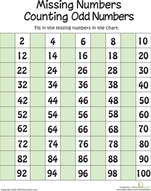 First Grade Math Worksheets: Missing Numbers: Counting the Odds