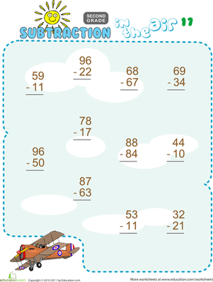 Second Grade Math Worksheets: Subtraction in the Air #17