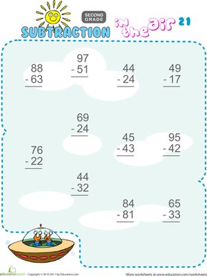Second Grade Math Worksheets: Subtraction in the Air #21