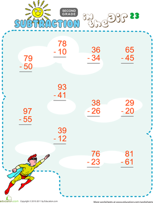 Second Grade Math Worksheets: Subtraction in the Air #23