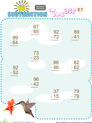Second Grade Math Worksheets: Subtraction in the Air #27