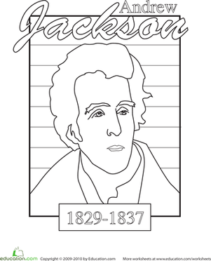 Kindergarten Holidays & Seasons Worksheets: Color a U.S. President: Andrew Jackson