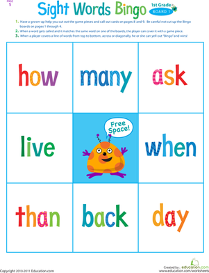 First Grade Reading & Writing Worksheets: First Grade Sight Words Bingo