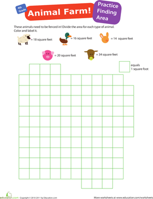Fourth Grade Math Worksheets: Practice Finding Area #1: Animal Farm