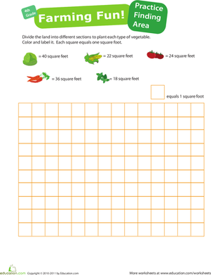 Fourth Grade Math Worksheets: Practice Finding Area #4: Farming Fun!