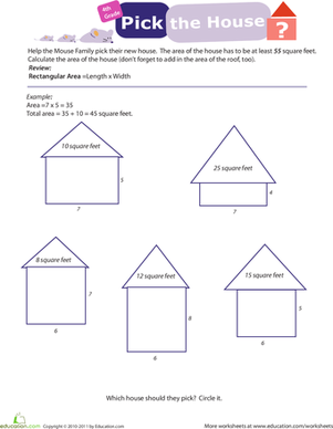 Fourth Grade Math Worksheets: Practice Finding Area #5: Pick the House