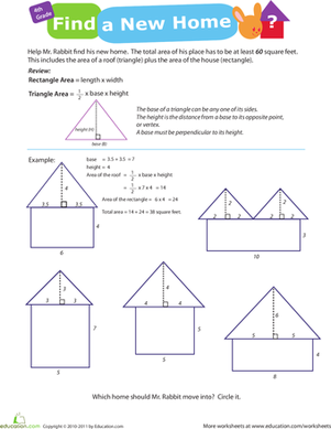 Fourth Grade Math Worksheets: Practice Finding Area #8: Find a New Home