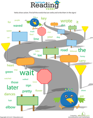 Second Grade Reading & Writing Worksheets: Reading Roundup: Find the Verbs #2