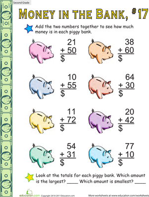 Second Grade Math Worksheets: Money in the Bank: Two-Digit Addition #17