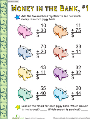 Money in the Bank: Two-Digit Addition #1