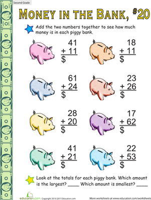 Second Grade Math Worksheets: Money in the Bank: Two-Digit Addition #20