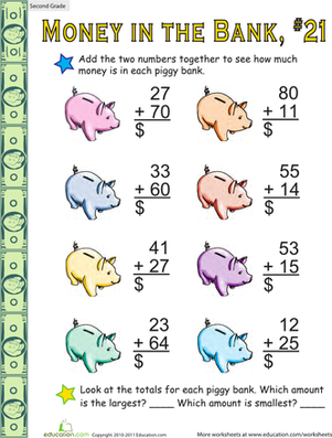 Money in the Bank: Two-Digit Addition #21