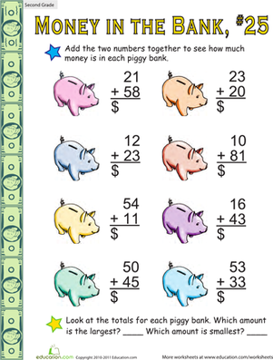 Second Grade Math Worksheets: Money in the Bank: Two-Digit Addition #25