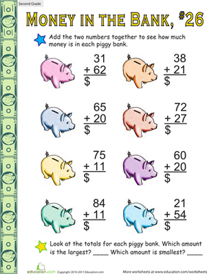 Second Grade Math Worksheets: Money in the Bank: Two-Digit Addition #26