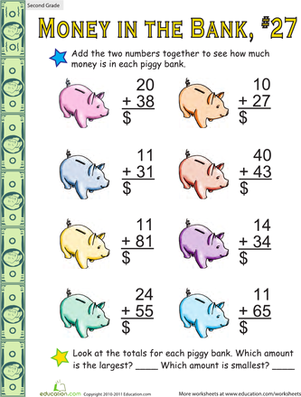 Second Grade Math Worksheets: Money in the Bank: Two-Digit Addition #27