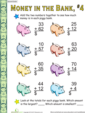 Second Grade Math Worksheets: Money in the Bank: Two-Digit Addition #4