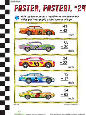 Faster, Faster: Two-Digit Addition #24