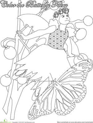First Grade Coloring Worksheets: Color the Butterfly Fairy