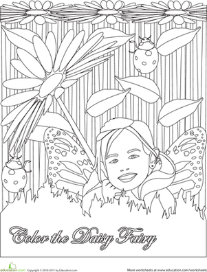 First Grade Coloring Worksheets: Color the Daisy Fairy