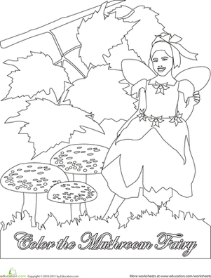 First Grade Coloring Worksheets: Color the Mushroom Fairy