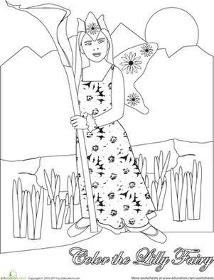 First Grade Coloring Worksheets: Color the Lily Fairy