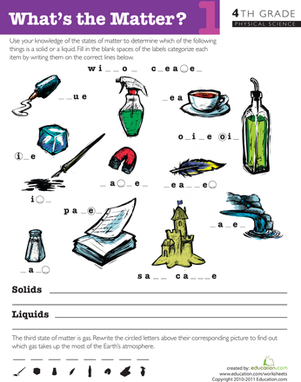 Fourth Grade Science Worksheets: What's the Matter? #1