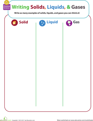 First Grade Science Worksheets: Matter Mixup: Writing Solids, Liquids, and Gases