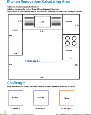 Fourth Grade Math Worksheets: Calculating Area in the Kitchen