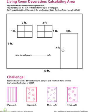 Fourth Grade Math Worksheets: Calculating Area in the Living Room