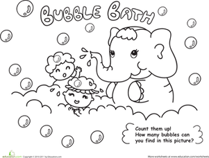 Bath Time! Color the Elephant Bubble Bath | Worksheet | Education.com