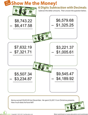 Fifth Grade Math Worksheets: Show Me the Money! Six-Digit Subtraction with Decimals