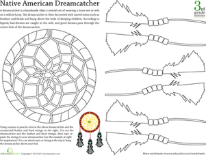 Third Grade Social Studies Worksheets: Color a Native American Dreamcatcher