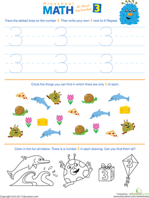Preschool Math All About The Number 3 Worksheet Education