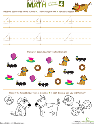 Preschool Math All About The Number 4 Worksheet