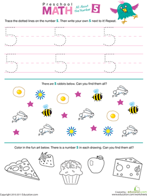 Preschool Math Worksheets: Preschool Math: All About the Number 5