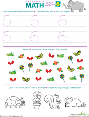 Preschool Math: All About the Number 6 | Worksheet ...