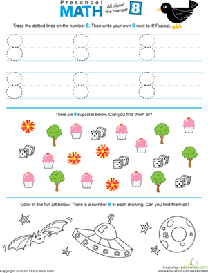 Preschool Math Worksheets: Preschool Math: All About the Number 8