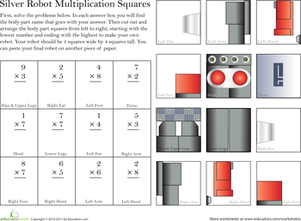 Third Grade Math Worksheets: Build a Robot: Multiplication #1