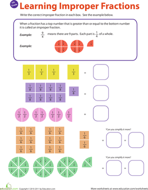 Fifth Grade Math Worksheets: Introduction to Improper Fractions #1