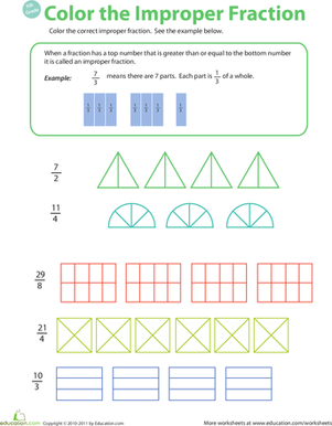 Fifth Grade Math Worksheets: Introduction to Improper Fractions #2