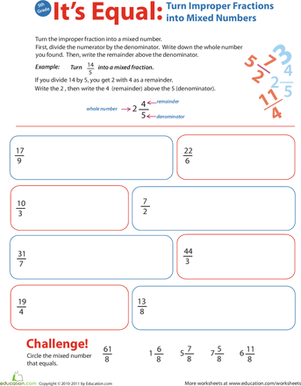 Fifth Grade Math Worksheets: Introduction to Improper Fractions #3