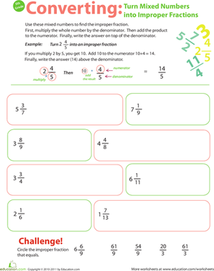 Fifth Grade Math Worksheets: Introduction to Improper Fractions #4