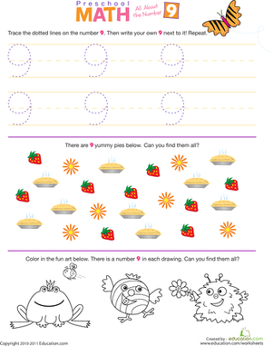 Preschool Math Worksheets: Preschool Math: All About the Number 9