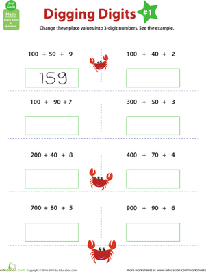 Second Grade Math Worksheets: Digging Digits: Practice Place Value #1