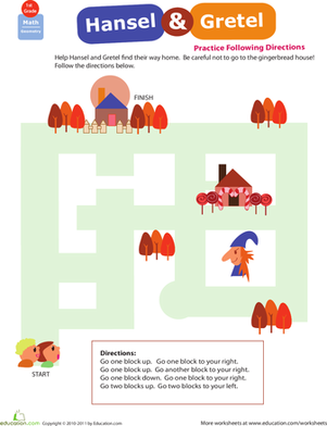 First Grade Offline Games Worksheets: Locations, Locations! Hansel & Gretel
