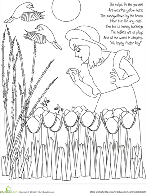 Kindergarten Holidays & Seasons Worksheets: Color the Easter Tulips