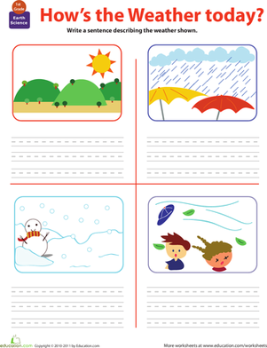 First Grade Reading & Writing Worksheets: Write About the Weather