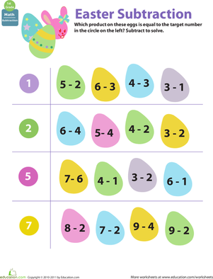 First Grade Holidays & Seasons Worksheets: Easter Math: Egg Subtraction
