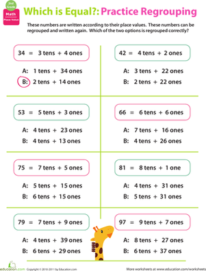 Regrouping: Practice Place Value #2 | Worksheet | Education.com